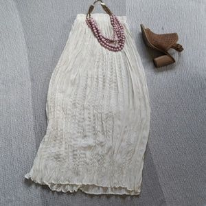 Vintage Cream Pleated Long Semi Opaque Skirt  Smal